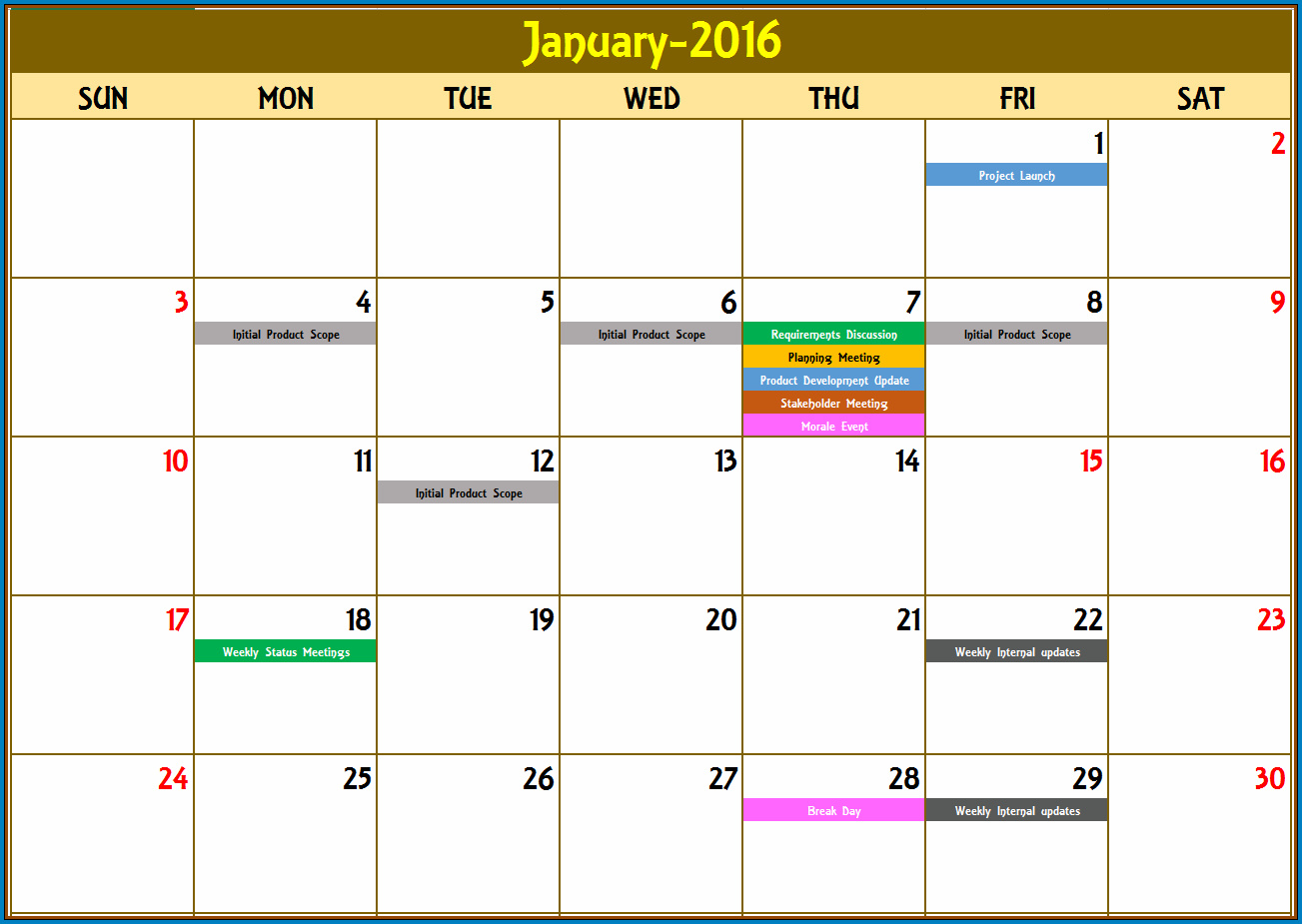 Monthly Schedule Template Excel Sample