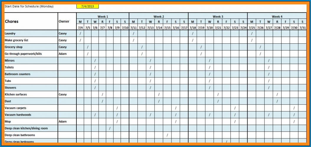Monthly Work Schedule Template Example