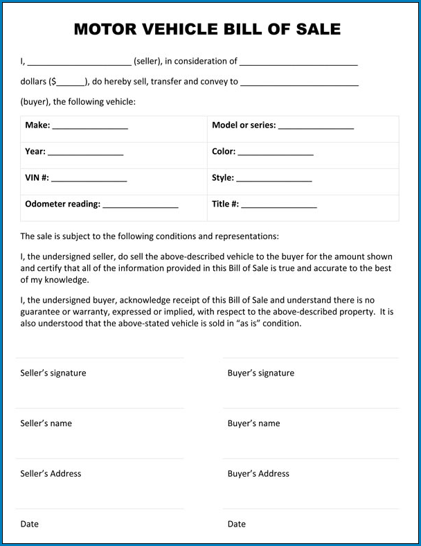 Motor Vehicle Bill Of Sale Template Example