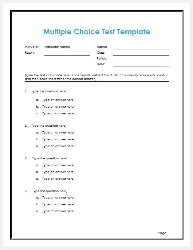 Multiple Choice Exam Template from www.templateral.com