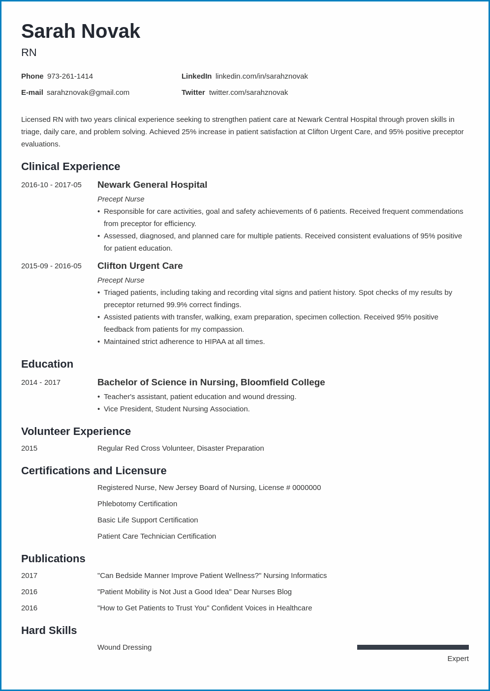 New Grad Nurse Resume Template Example