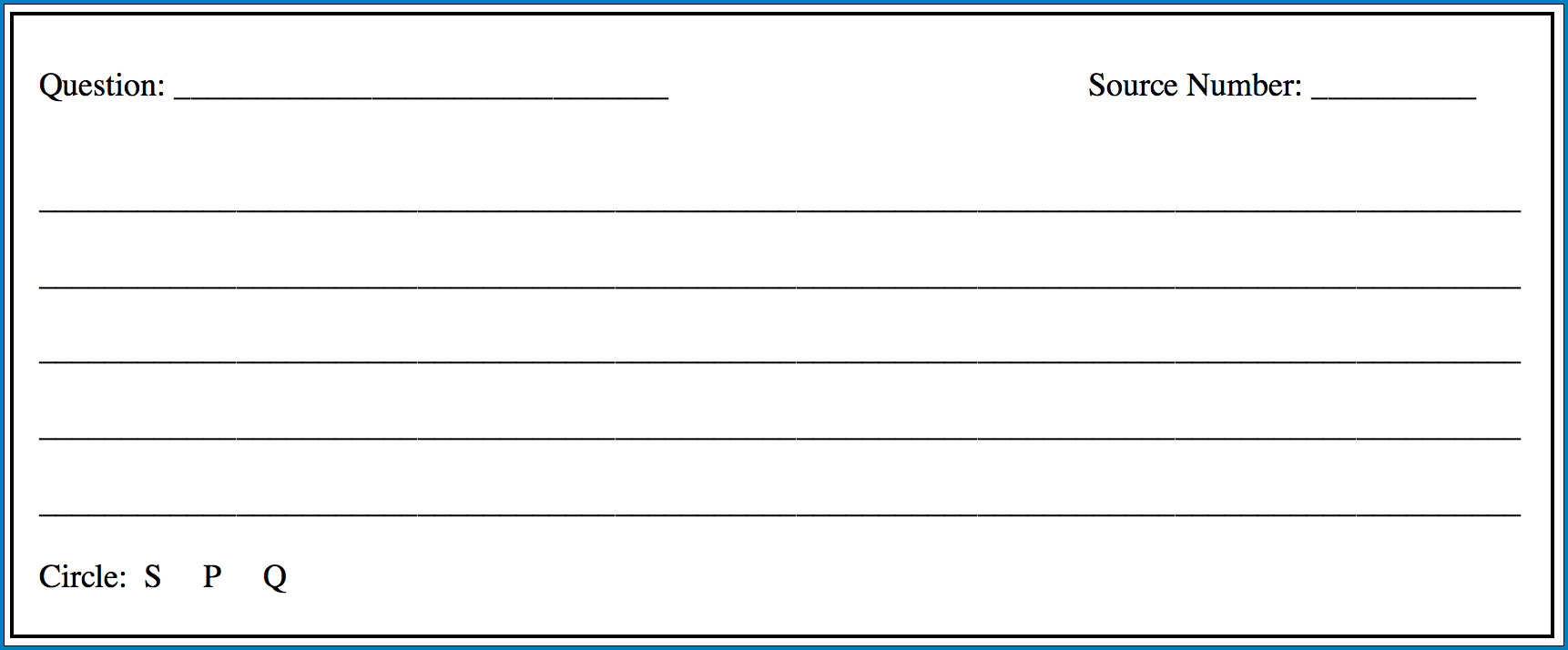 Note Card Template Example