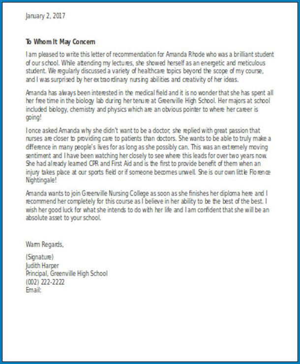 Nursing Letter Of Recommendation Example