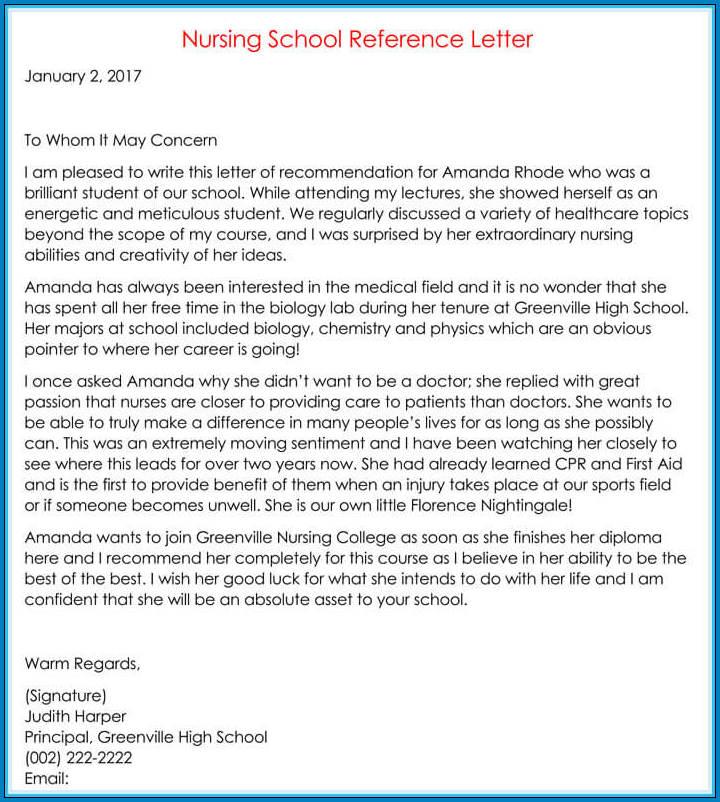 Nursing Letter Of Recommendation Sample