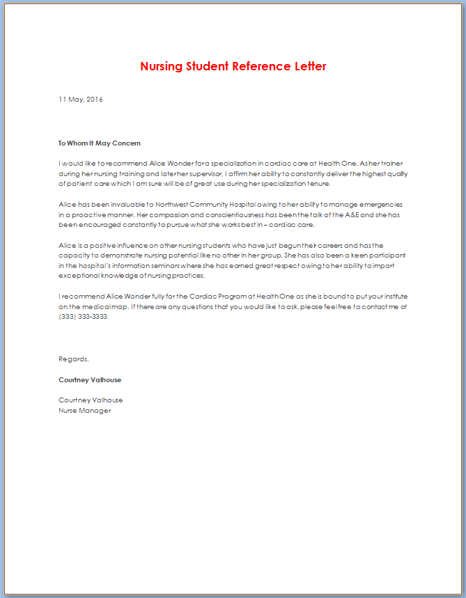 Free Printable Nursing Letter Of Recommendation Template