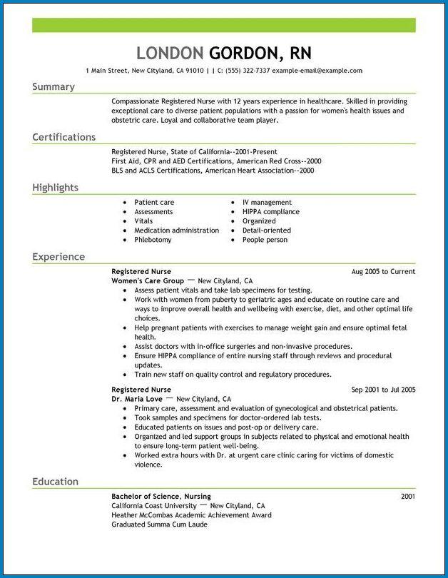 Nursing Resume Template Sample