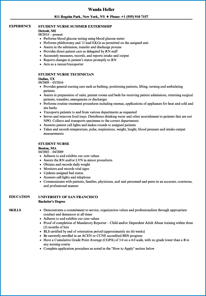Nursing Student Resume Template Templateral