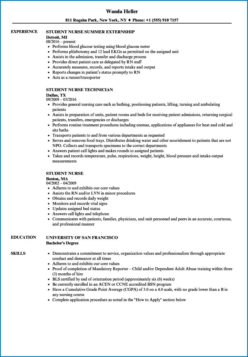Nursing Student Resume Template Example