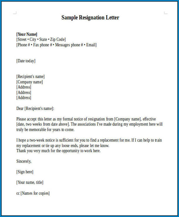 Official Letter Of Resignation Template Example