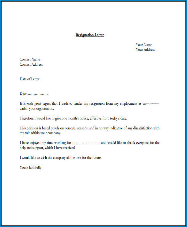 Official Letter Of Resignation Template Sample