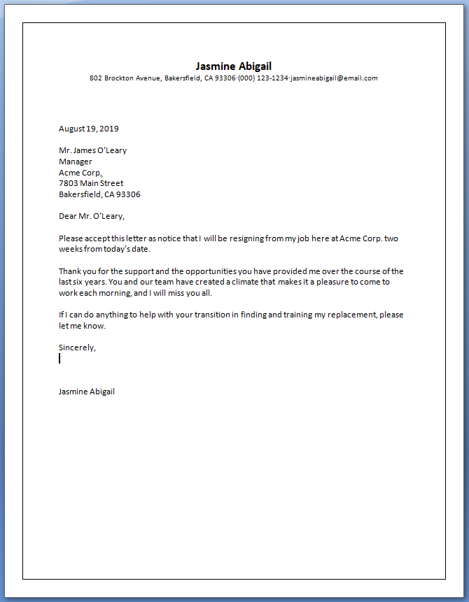 Free Printable Official Letter Of Resignation Template