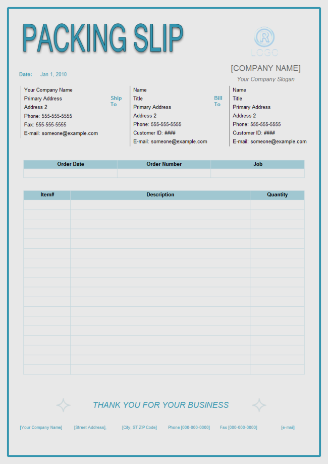 Packing Slip Template Sample