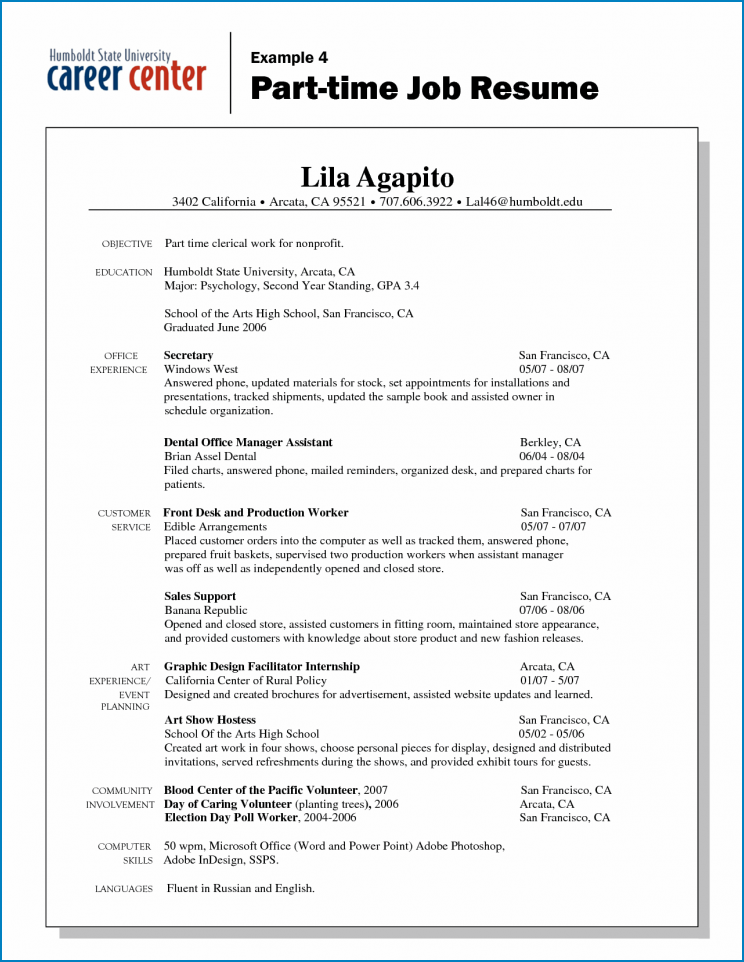 Part Time Job Resume Template Example