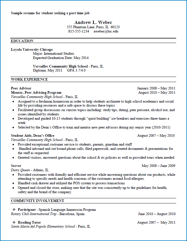 Resume Format For Part Time Job from www.templateral.com