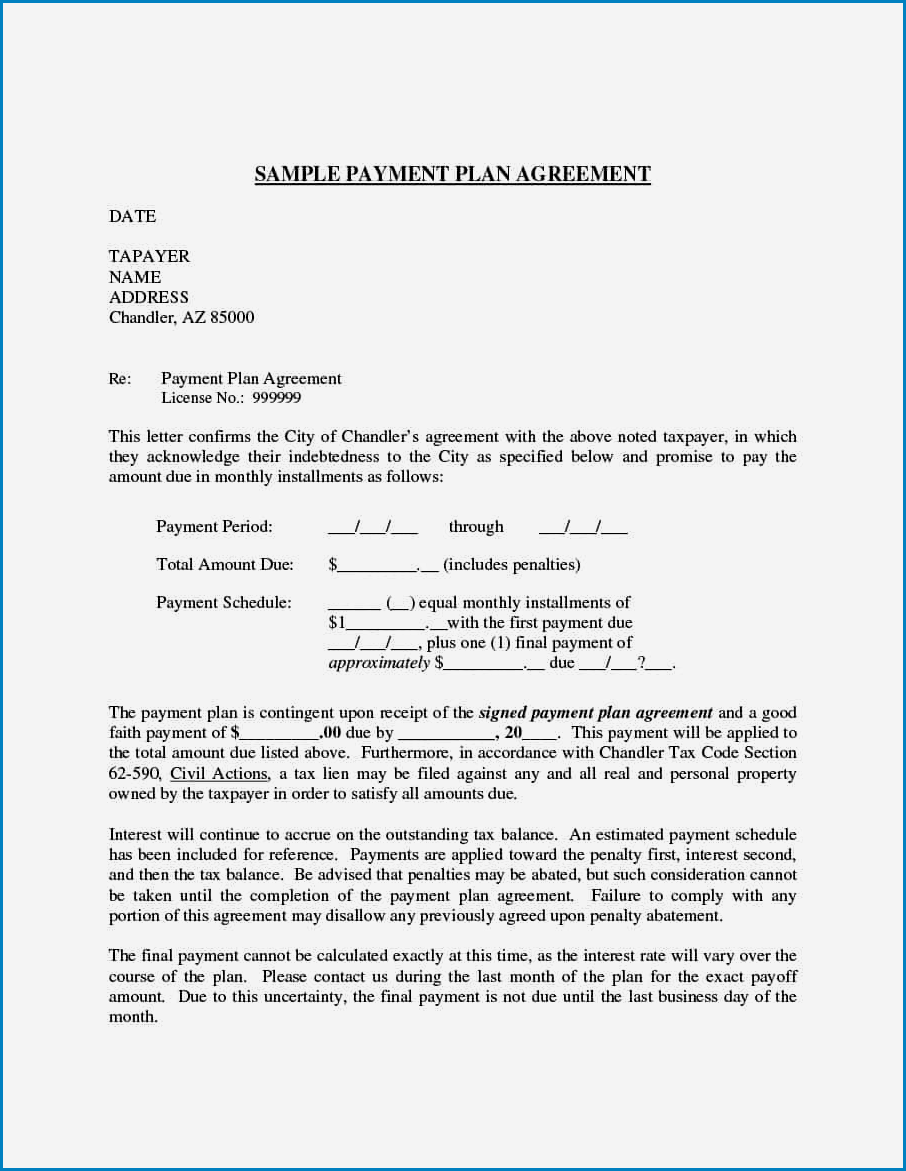Payment Agreement Template Example