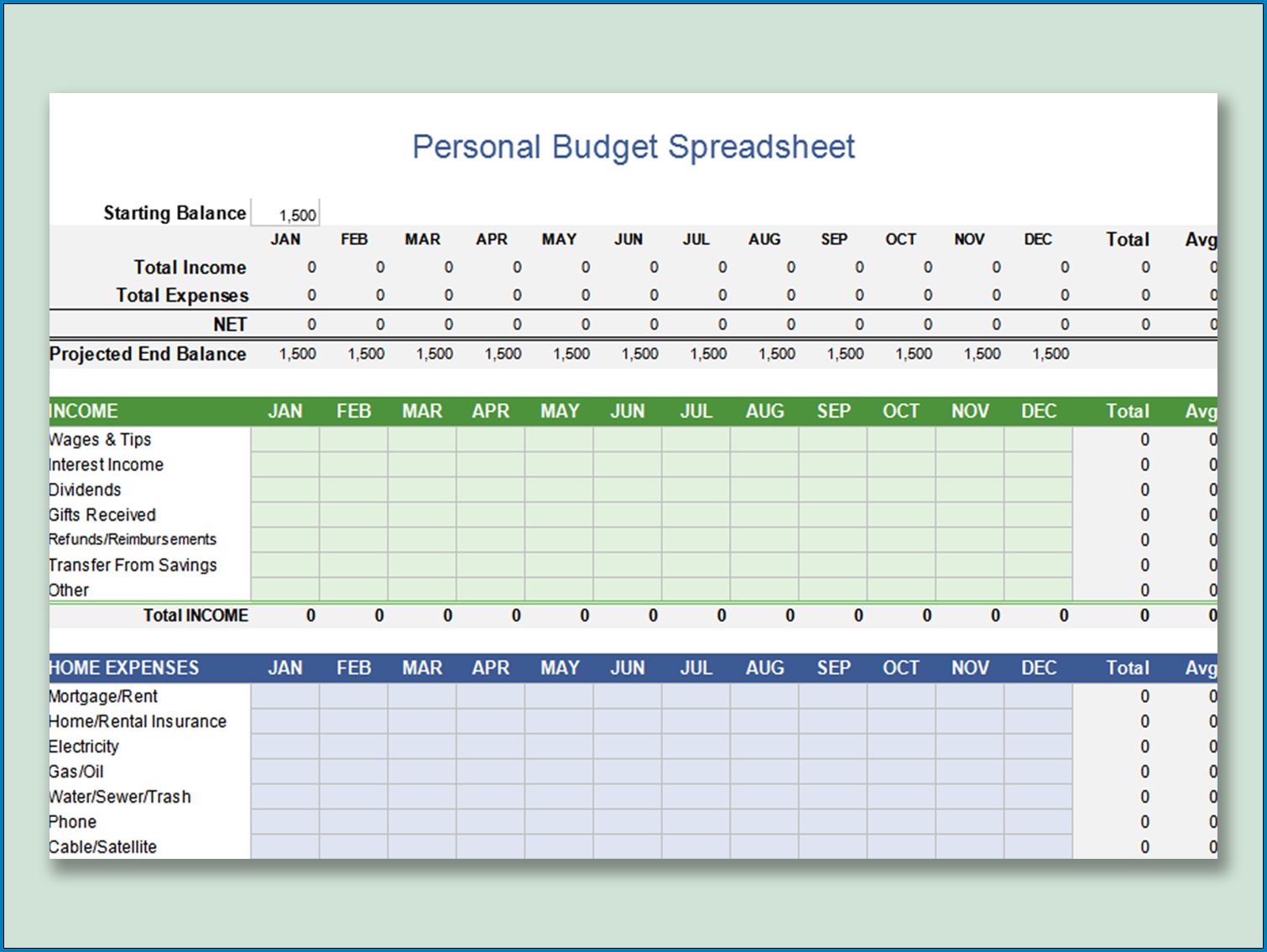 Personal Budget Planner Template Example
