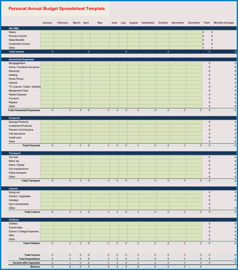 Personal Excel Budget Template Example