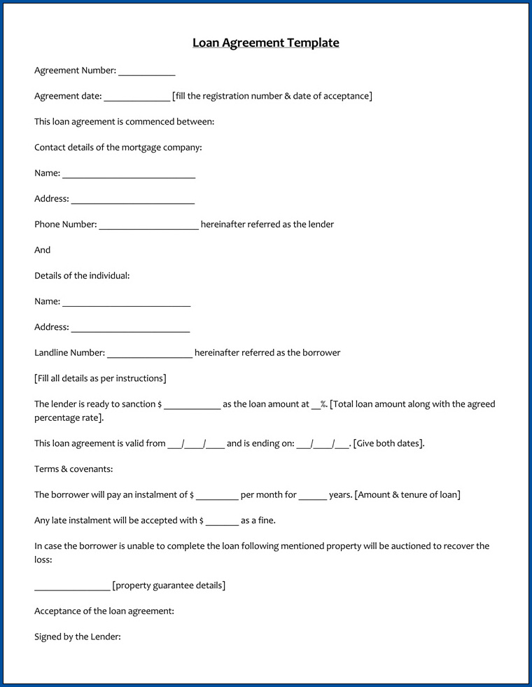 Personal Loan Agreement Template Example