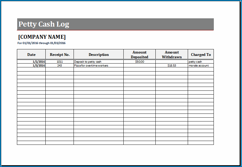 Petty Cash Log Template Example