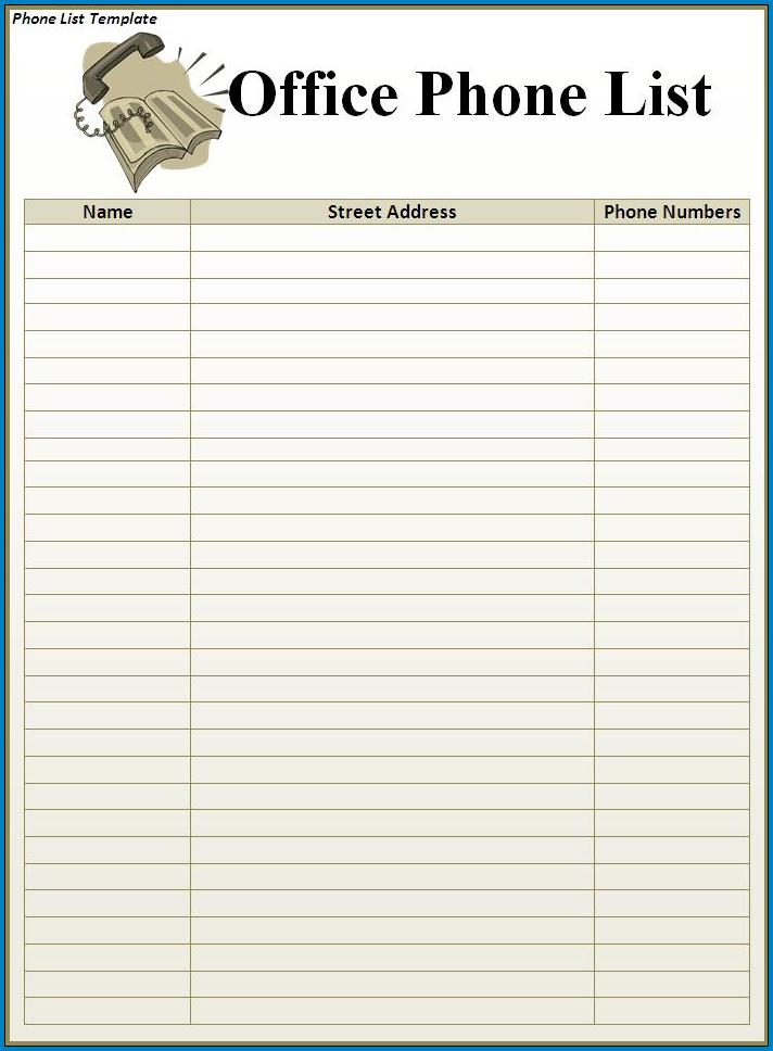 Phone List Template Example