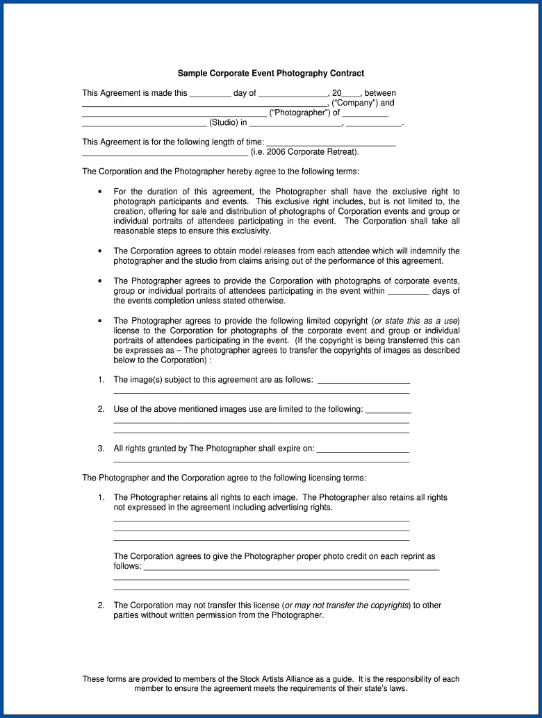Photography Contract For Events Example