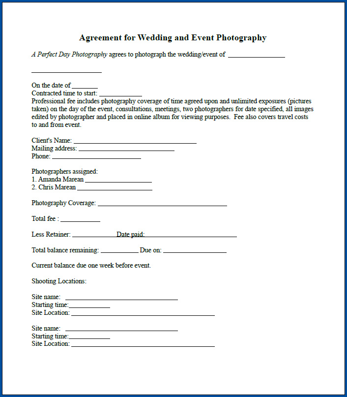 Free Printable Photography Contract For Events