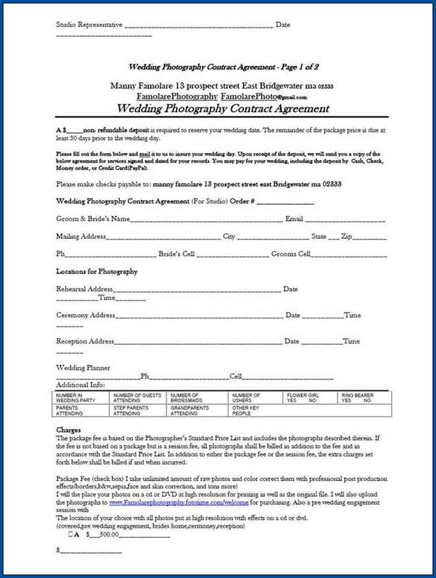 Photography Contract For Wedding Example