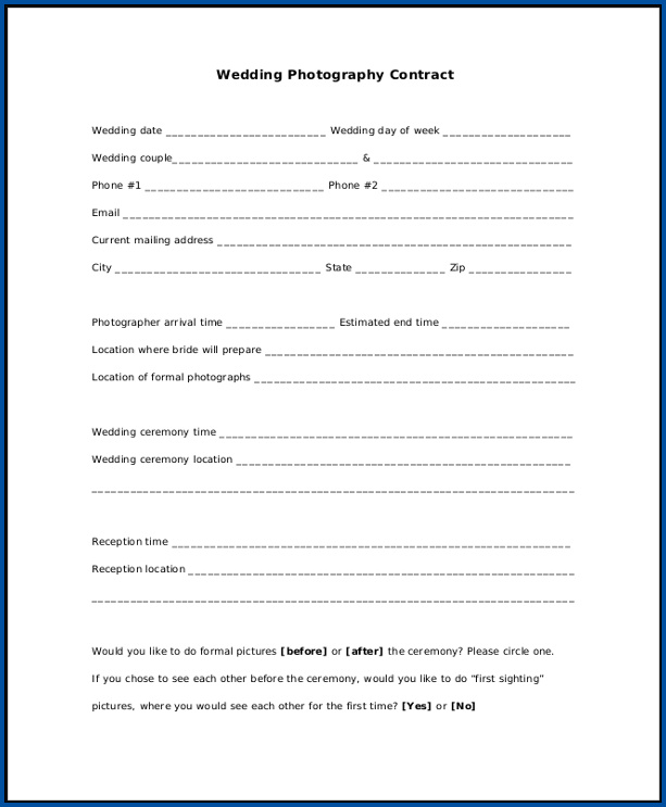 Photography Contract For Wedding Sample