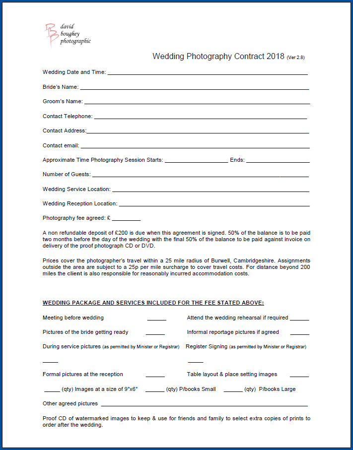 Free Printable Photography Contract For Wedding