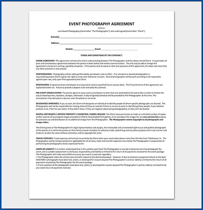 Photography Contract Template Example
