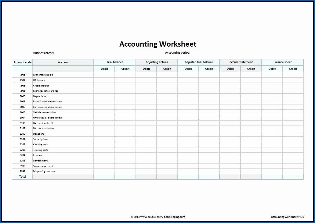 Printable Balance Sheet Sample