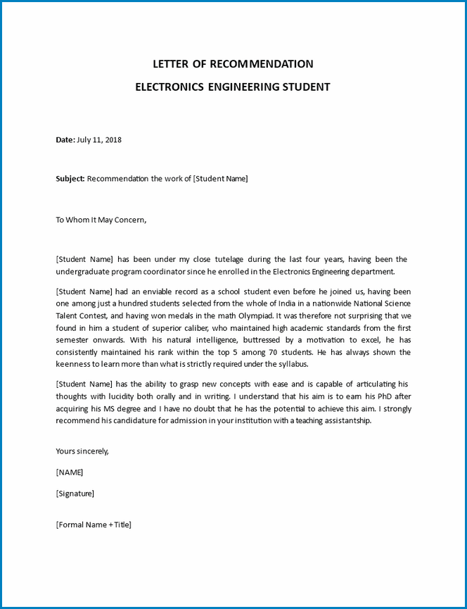 Professional Letter Of Recommendation Sample