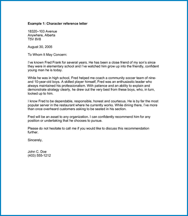 Professional Reference Letter Template Example