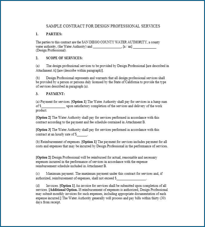 Professional Services Agreement Template Sample