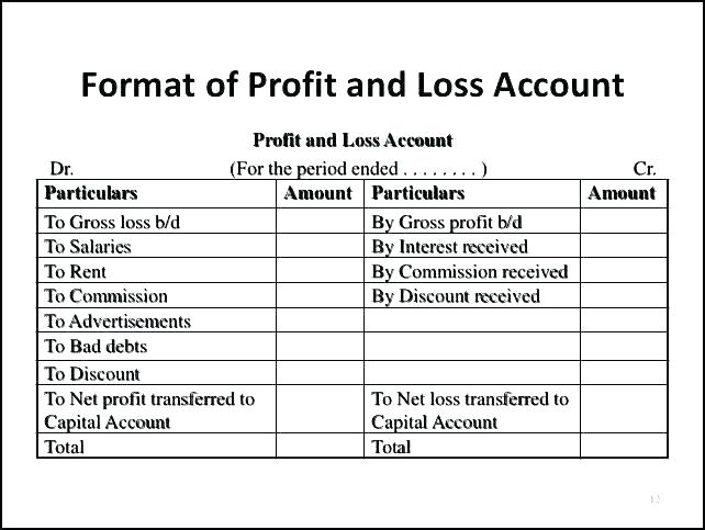 Profit And Loss Account Format Example