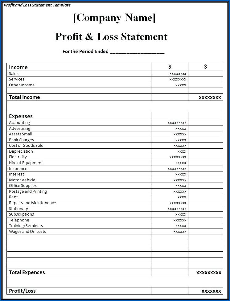 Profit And Loss Account Format PDF Example
