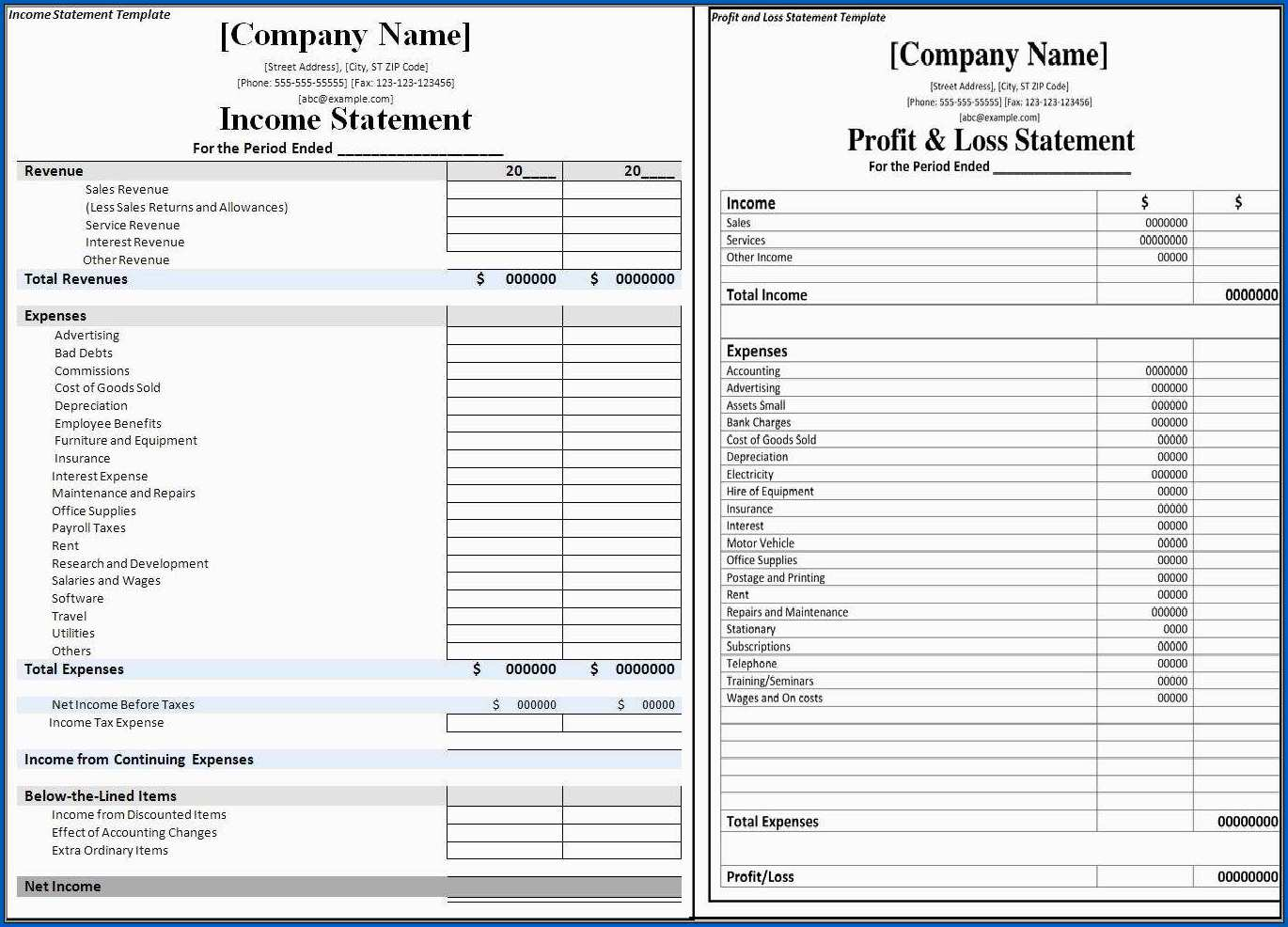 Profit And Loss Account Format PDF Sample