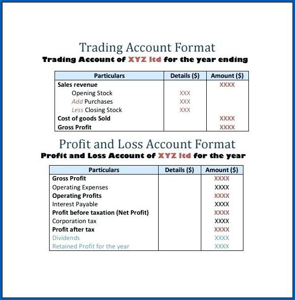 Profit And Loss Account Format Sample