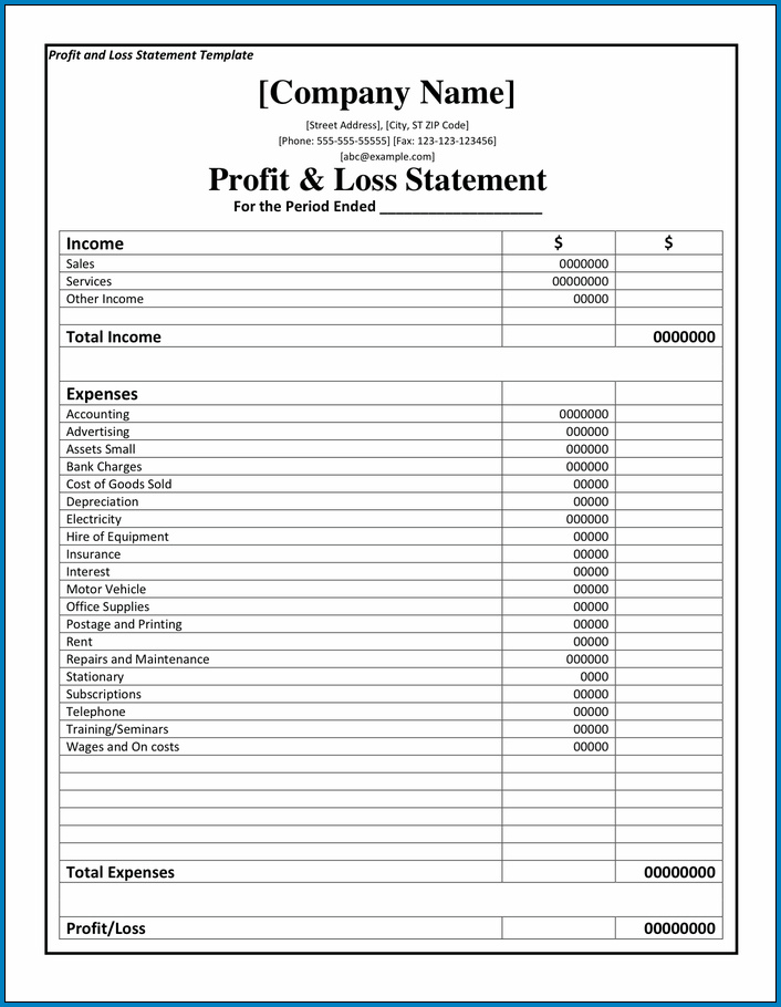 Profit And Loss Report Template Example
