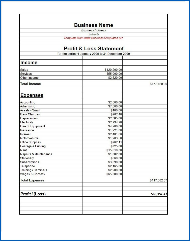 Profit And Loss Statement Sample 3
