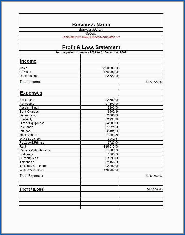 Profit And Loss Statement Template For Small Business Example
