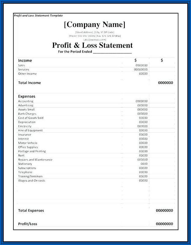 Profit And Loss Template For Small Business Sample
