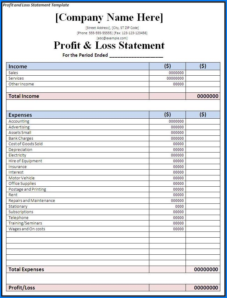 Profit And Loss Template Sample