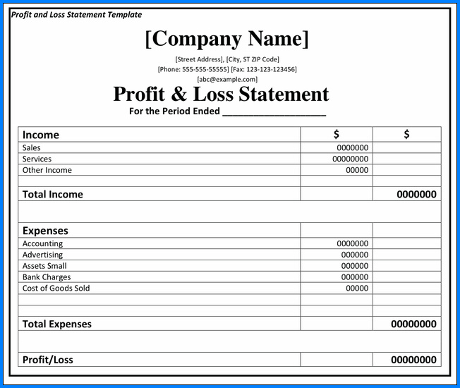 Profit Loss Statement Template Sample