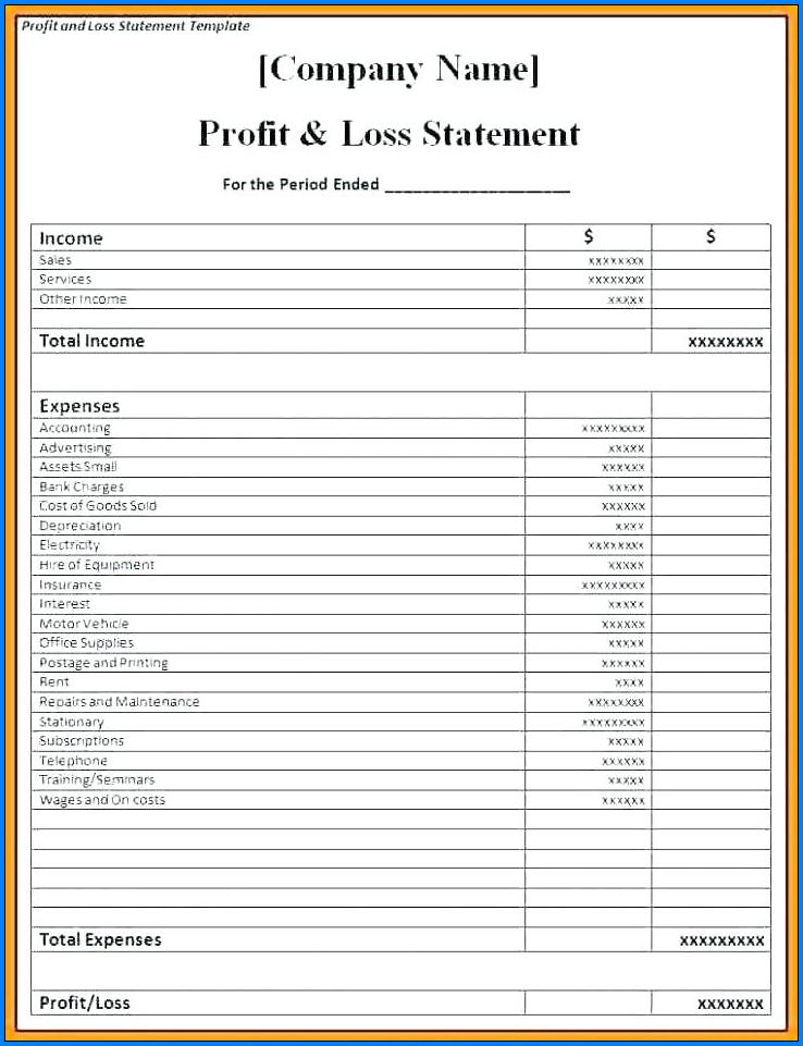 Profit And Loss Statement Template Free from www.templateral.com