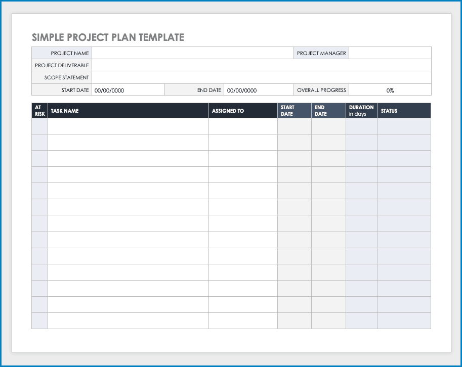 Project Plan Template Example