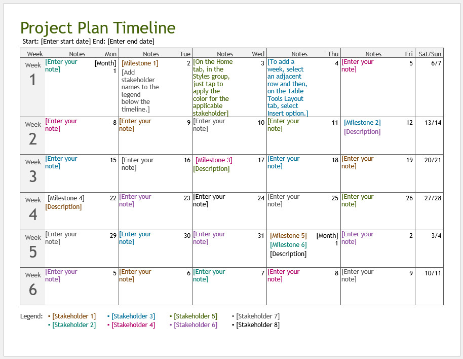 Free Printable Project Plan Timeline Template