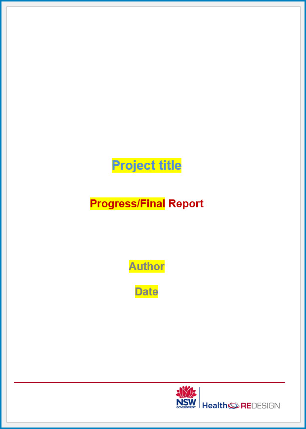 Free Printable Project Report Template