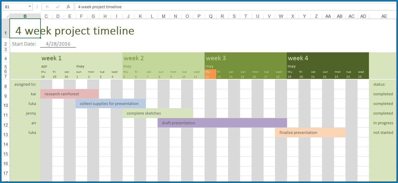 Project Timeline Excel Template Sample