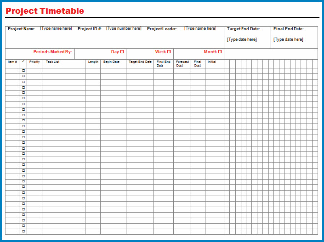 Project Timeline Template Word Sample